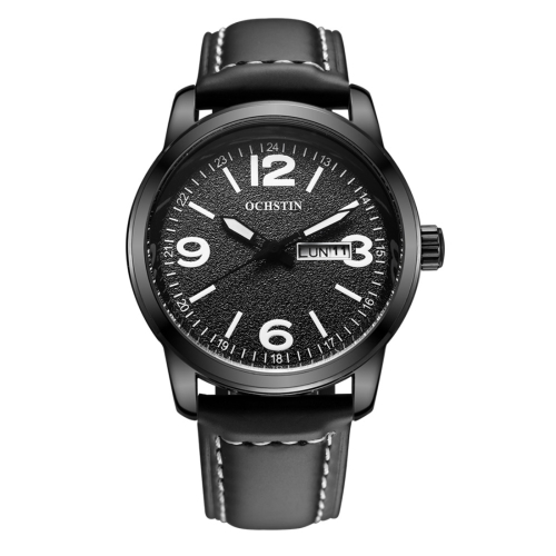 Buy OCHSTIN Round Luminous Display Dual Calendar Display Men Quartz Watch with Genuine Leather Band (Black + White) for $14.13 in SUNSKY store