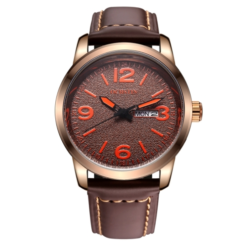 Buy OCHSTIN Round Luminous Display Dual Calendar Display Men Quartz Watch with Genuine Leather Band (Coffee + Orange) for $14.13 in SUNSKY store
