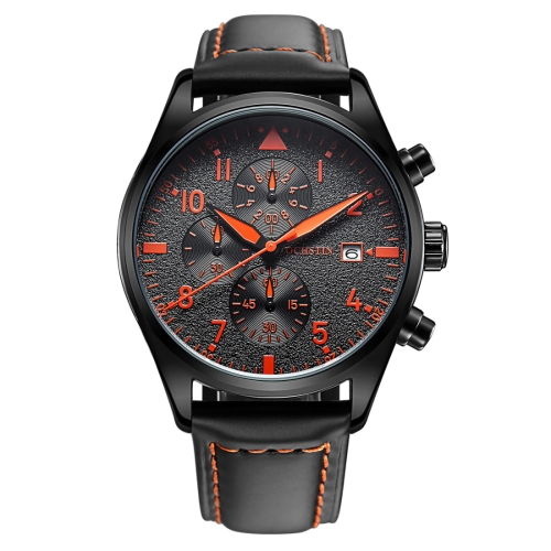 Buy OCHSTIN Round Multi-function Three Sub Dial Luminous Display Calendar Display Men Quartz Watch with Genuine Leather Band (Black + Orange) for $17.79 in SUNSKY store