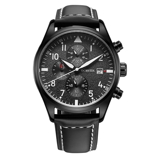 Buy OCHSTIN Round Multi-function Three Sub Dial Luminous Display Calendar Display Men Quartz Watch with Genuine Leather Band (Black + White) for $17.79 in SUNSKY store