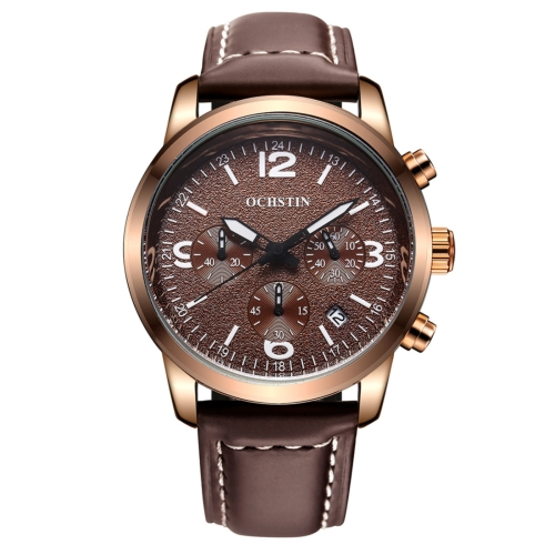 Buy OCHSTIN Round Multi-function Three Sub Dial with 24 Hours Dial Luminous Display Calendar Display Men Quartz Watch with Genuine Leather Band (Dark Coffee + White) for $17.13 in SUNSKY store