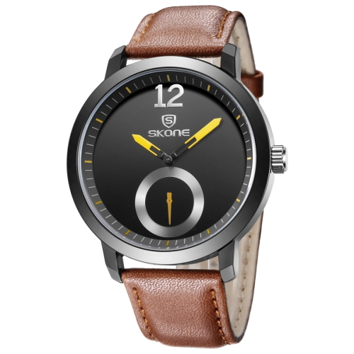 Buy SKONE 5015 Simple Round Dial One Decoration Dial Fashion Men Quartz Watch with PU Leather Band, Coffee for $8.02 in SUNSKY store