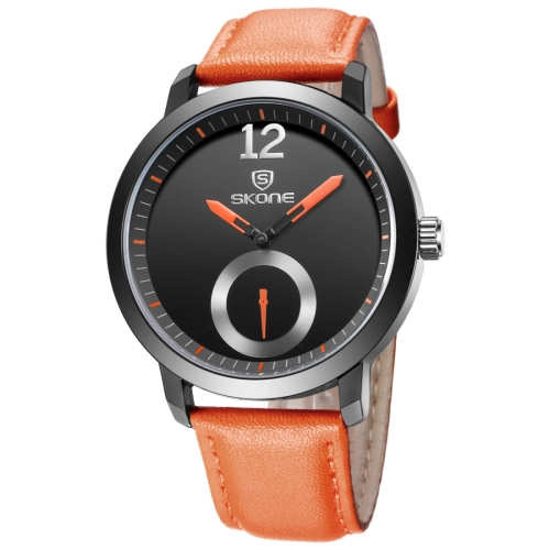 Buy SKONE 5015 Simple Round Dial One Decoration Dial Fashion Men Quartz Watch with PU Leather Band, Orange for $8.05 in SUNSKY store