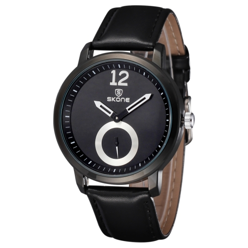 Buy SKONE 5015 Simple Round Dial One Decoration Dial Fashion Women Quartz Watch with PU Leather Band, Black for $8.05 in SUNSKY store