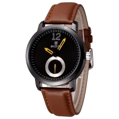 Buy SKONE 5015 Simple Round Dial One Decoration Dial Fashion Women Quartz Watch with PU Leather Band, Coffee for $8.05 in SUNSKY store
