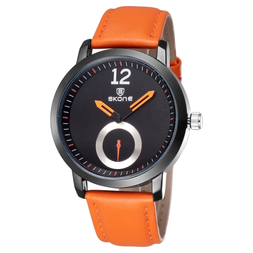 Buy SKONE 5015 Simple Round Dial One Decoration Dial Fashion Women Quartz Watch with PU Leather Band, Orange for $8.05 in SUNSKY store