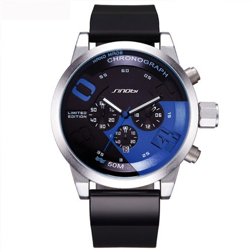 Buy SINOBI 4480 Round Dial Calendar Display Luminous Pointer Small Dial Design Fashion Men Quartz Watch with Silicone Band, Blue for $16.87 in SUNSKY store