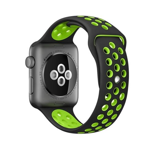 Buy For Apple Watch Series 1 & Series 2 & Nike+ Sport 38mm Fashionable Classical Silicone Sport Watchband (Black + Green) for $3.70 in SUNSKY store