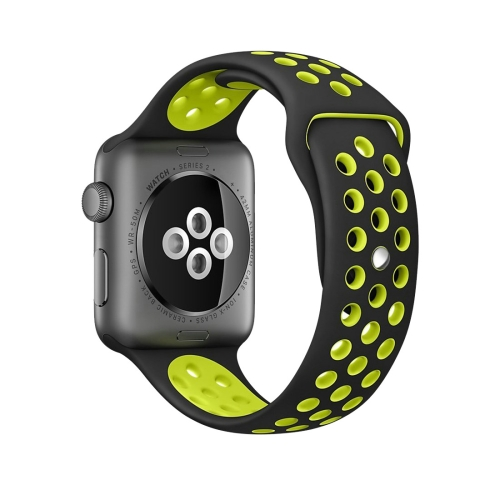 Buy For Apple Watch Series 1 & Series 2 & Nike+ Sport 42mm Fashionable Classical Silicone Sport Watchband (Black + Yellow) for $3.70 in SUNSKY store