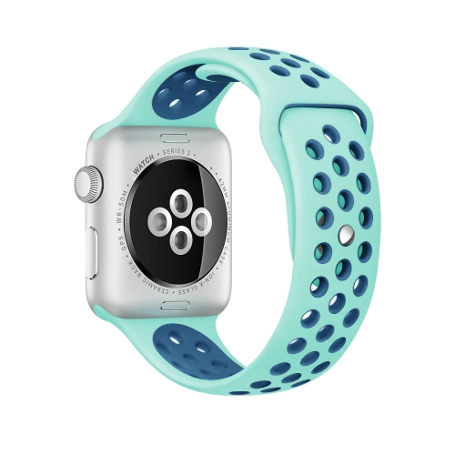 Buy For Apple Watch Series 1 & Series 2 & Nike+ Sport 42mm Fashionable Classical Silicone Sport Watchband (Green + Blue) for $3.71 in SUNSKY store