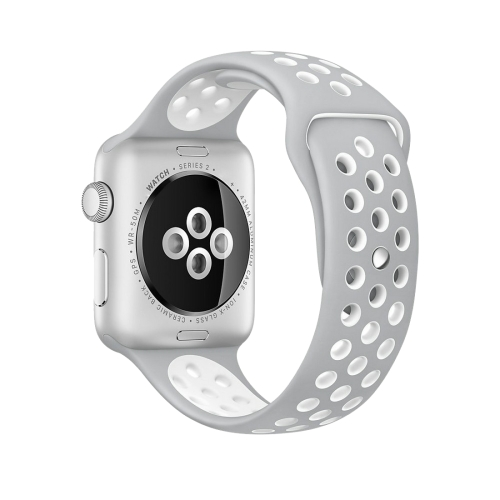 Buy For Apple Watch Series 1 & Series 2 & Nike+ Sport 42mm Fashionable Classical Silicone Sport Watchband (Grey + White) for $3.71 in SUNSKY store