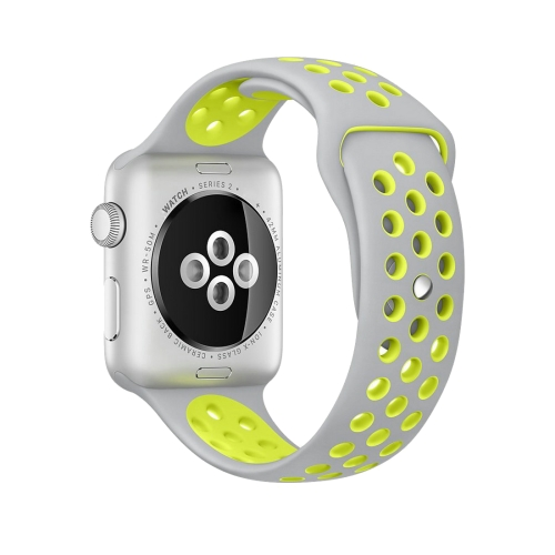 Buy For Apple Watch Series 1 & Series 2 & Nike+ Sport 42mm Fashionable Classical Silicone Sport Watchband (Grey + Yellow) for $3.71 in SUNSKY store