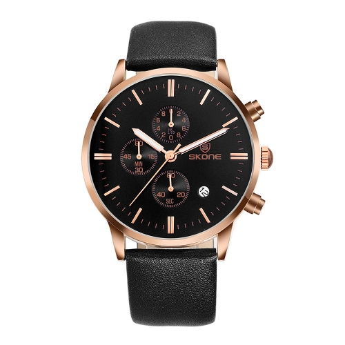 Buy SKONE 1084 Round Dial Calendar Display Small Dial Design Fashion Men Quartz Watch with PU Leather Band (Black + Rose Gold) for $16.76 in SUNSKY store
