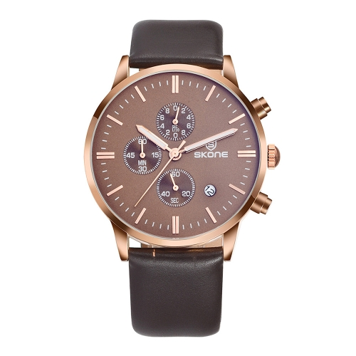 Buy SKONE 1084 Round Dial Calendar Display Small Dial Design Fashion Men Quartz Watch with PU Leather Band (Brown + Rose Gold) for $16.41 in SUNSKY store