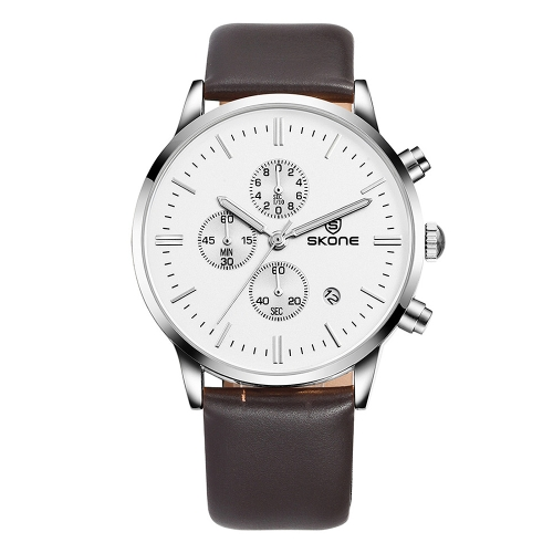 Buy SKONE 1084 Round Dial Calendar Display Small Dial Design Fashion Men Quartz Watch with PU Leather Band (Brown + Silver) for $17.25 in SUNSKY store