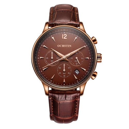 Buy OCHSTIN 322605 3ATM Waterproof Quartz Movement Three Functional Sub Dials (24 Hours, Minute, Second) Waist Watch with Leather Band & Calendar Display Function for Men (Coffee Band Coffee Window) for $18.13 in SUNSKY store