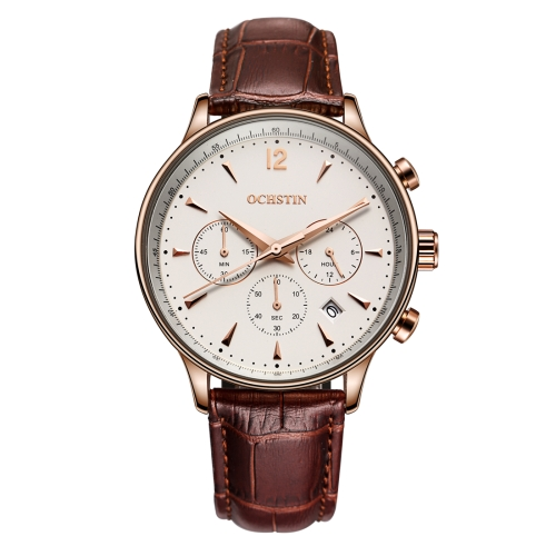 Buy OCHSTIN 322601 3ATM Waterproof Quartz Movement Three Functional Sub Dials (24 Hours, Minute, Second) Waist Watch with Leather Band & Calendar Display Function for Men (Coffee Band White Window) for $18.13 in SUNSKY store