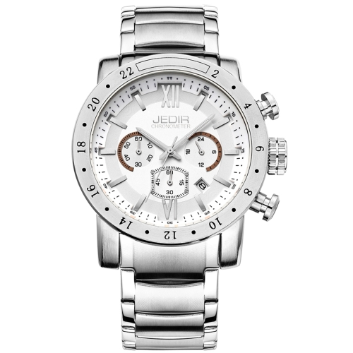 Buy JEDIR 527502 3ATM Waterproof Rome Scale Quartz Movement Three Functional Sub Dials (24 Hours, Stopwatch, Second & Minute Pointer) Waist Watch with Stainless Steel Band & Calendar Display Function for Men (White Band White Window) for $24.77 in SUNSKY store