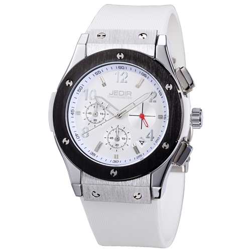 Buy JEDIR 527906 3ATM Waterproof Arabic Numerals Scale Quartz Movement Three Functional Sub Dials (24 Hours, Stopwatch, Minute) Waist Watch with Silicone Band & Luminous Pointer & Calendar Display Function for Men, White for $21.52 in SUNSKY store