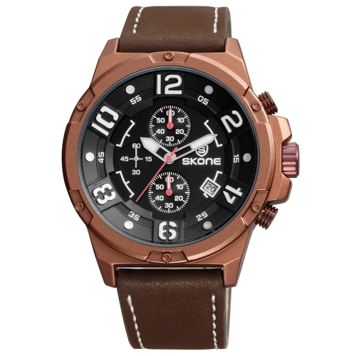 Buy SKONE 1083 Round Calendar Display / Small Dial Design Men Sport Quartz Watch with PU Leather Band, Coffee for $17.85 in SUNSKY store