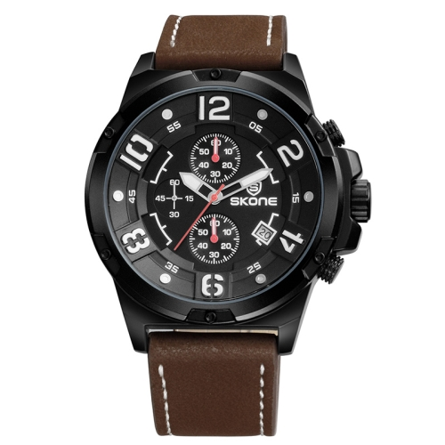 Buy SKONE 1083 Round Calendar Display / Small Dial Design Men Sport Quartz Watch with PU Leather Band (Black + Coffee) for $16.85 in SUNSKY store
