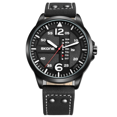 Buy SKONE Calendar Display Article Number Needle Scale Import Quartz Movement Sports Men Watch with Leather Band, Black for $11.95 in SUNSKY store