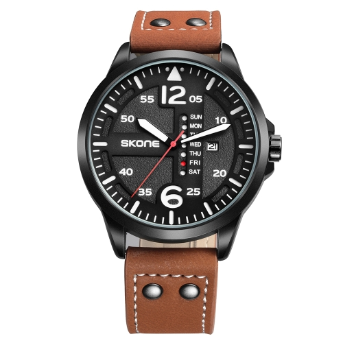 Buy SKONE Calendar Display Article Number Needle Scale Import Quartz Movement Sports Men Watch with Leather Band, Brown for $12.65 in SUNSKY store