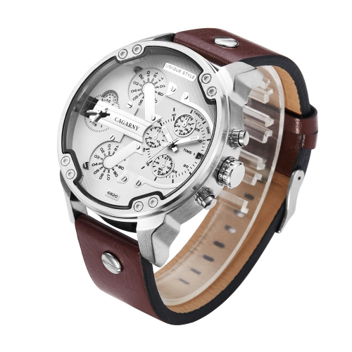 CAGARNY 6820 Fashionable Multifunctional Style Quartz Business Sport Wrist Watch with Leather Band & GMT Time & Calendar & Luminous Display for Men(Brown Band White Window)