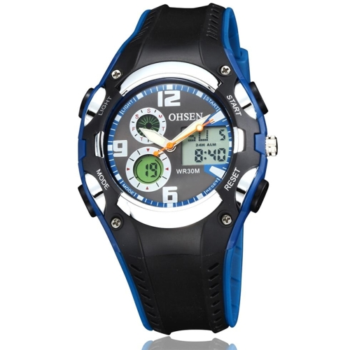 Buy OHSEN Round Dial Calendar LED Display Pointer Small Dial Design Fashion Men Quartz Watch with Silicone Band, Blue for $9.92 in SUNSKY store