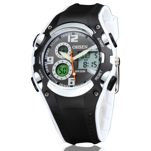 Buy OHSEN Round Dial Calendar LED Display Pointer Small Dial Design Fashion Men Quartz Watch with Silicone Band, White for $9.92 in SUNSKY store
