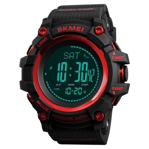 SKMEI 1358 Multifunctional Men Outdoor Sports 30m Waterproof Digital Watch with Compass / Barometer / Altimeter/ Pedometer Function(Red)