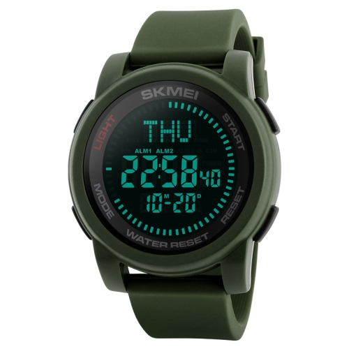 SKMEI 1289 Multifunctional Men Outdoor Sports 50m Waterproof Digital Watch with Compass & World Time Function(Army Green)
