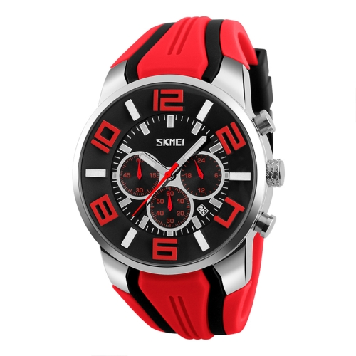 SKMEI 9128 Fashion Multifunctional 3D Large Dial Sports Wristwatch 30m Waterproof Quartz Watch(Red)