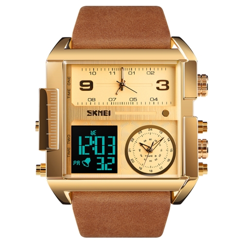SKMEI 1391 Multifunctional Men Business Digital Watch 30m Waterproof Square Dial Wrist Watch with Leather Watchband(Gold)