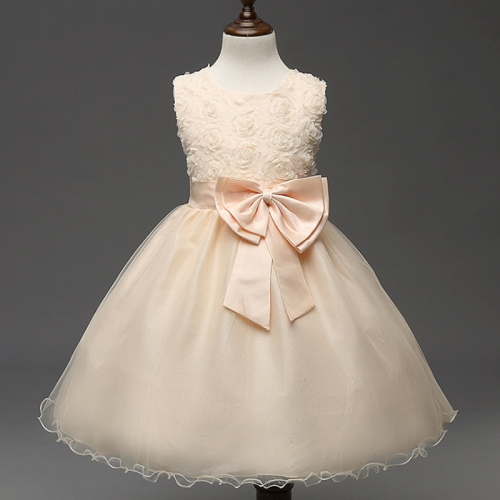 Girl Kids Rose Bow-tie Ball Gown Bridesmaid Party Wedding Pageant Tulle  Dress Champagne Gold 17045b12c