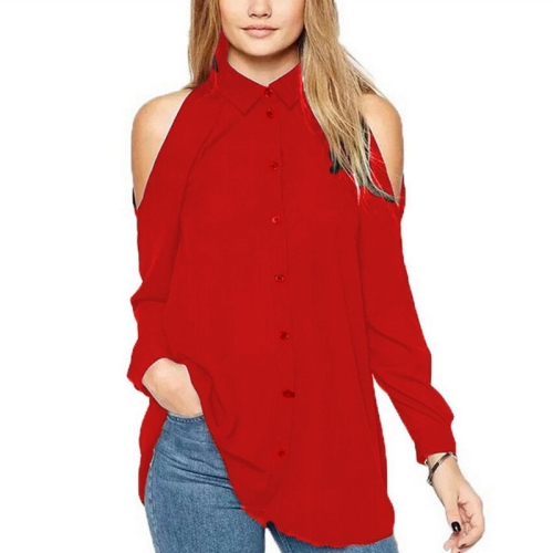 Buy New Style Female Strapless Leisure Single Breasted Long Sleeve Chiffon Shirt Blouse, Size: S, Red for $4.18 in SUNSKY store