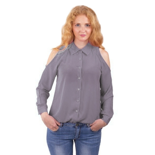 Buy New Style Female Strapless Leisure Single Breasted Long Sleeve Chiffon Shirt Blouse, Size: 2XL, Grey for $4.99 in SUNSKY store