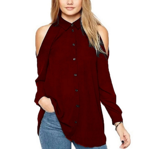 New Style Female Strapless Leisure Single Breasted Long Sleeve Chiffon Shirt Blouse, Size: 2XL (Wine Red)