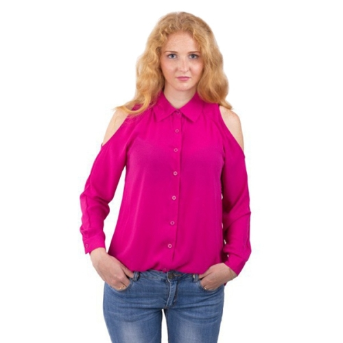 Buy New Style Female Strapless Leisure Single Breasted Long Sleeve Chiffon Shirt Blouse, Size: 4XL, Magenta for $5.01 in SUNSKY store