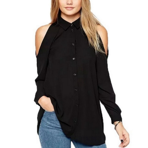 Buy New Style Female Strapless Leisure Single Breasted Long Sleeve Chiffon Shirt Blouse, Size: 5XL, Black for $5.01 in SUNSKY store