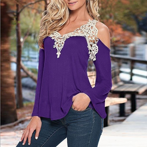 Buy Female Lace Stitching Sexy V Neck Flare Sleeve Strapless Cotton Tops T-shirt, Size: M, Purple for $4.03 in SUNSKY store