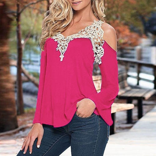 Buy Female Lace Stitching Sexy V Neck Flare Sleeve Strapless Cotton Tops T-shirt, Size: 3XL, Magenta for $4.05 in SUNSKY store