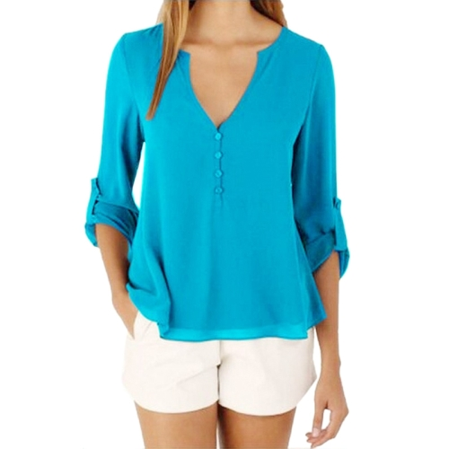 Buy Female European and American Elegant V Neck Long Sleeve Loose Chiffon Blouse, Size: M, Azure for $5.04 in SUNSKY store