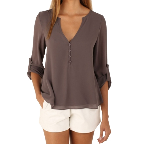Buy Female European and American Elegant V Neck Long Sleeve Loose Chiffon Blouse, Size: M, Coffee for $5.04 in SUNSKY store