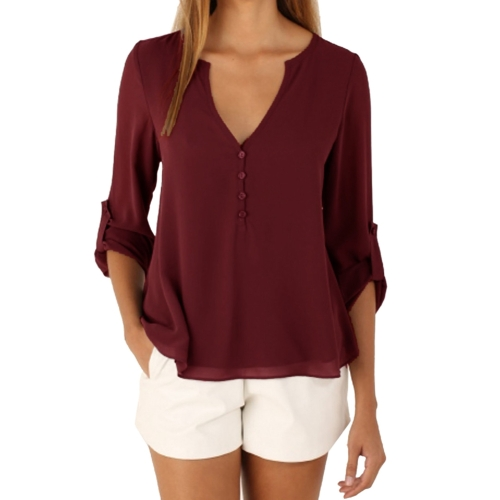 Buy Female European and American Elegant V Neck Long Sleeve Loose Chiffon Blouse, Size: L (Wine Red) for $5.05 in SUNSKY store