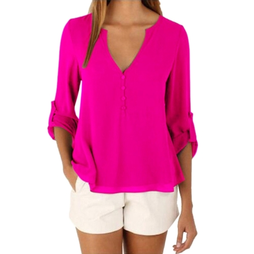 Buy Female European and American Elegant V Neck Long Sleeve Loose Chiffon Blouse, Size: 2XL, Magenta for $5.05 in SUNSKY store