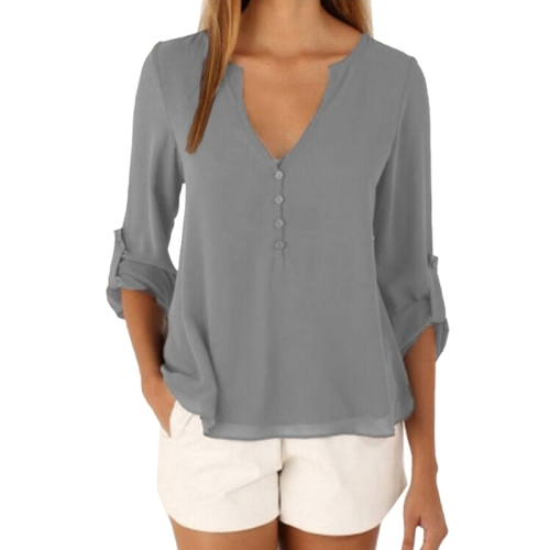 Buy Female European and American Elegant V Neck Long Sleeve Loose Chiffon Blouse, Size: 4XL, Grey for $4.01 in SUNSKY store