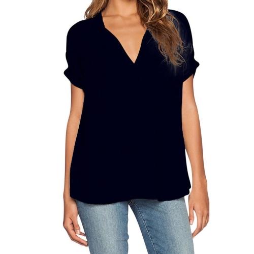 Female European and American Fashion V Neck Short Sleeve Short to Long Loose Chiffon Shirt Style Blouse, Size: S (Black)