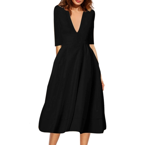 Buy Female European and American High-end Sexy Deep V Neck Middle Sleeve Zipper Long Dresses, Size: M, Black for $10.03 in SUNSKY store