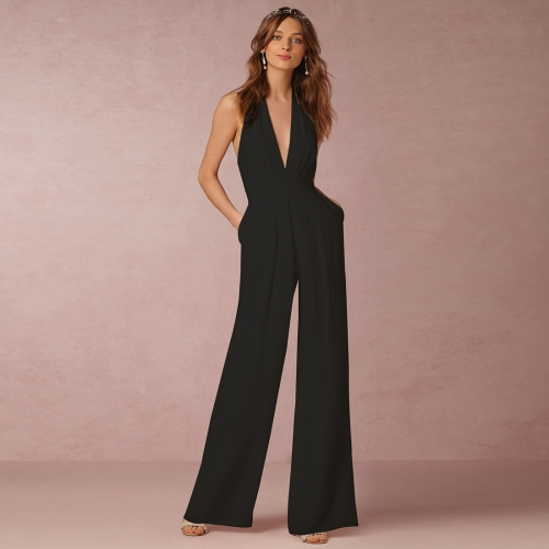 Buy Female European and American Casual Siamese Pants Sexy Deep V Neck Sleeveless Backless Hanging Neck Jumpsuits, Size: L, Black for $8.57 in SUNSKY store
